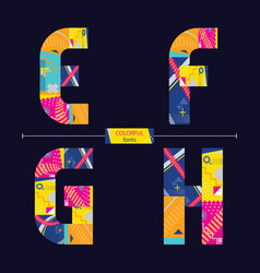 Alphabet colorful geometric style in a set efgh vector