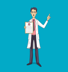 asian doctor in white coat with medical insurance vector image