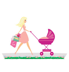 Beautiful young mother shopping for her child vector