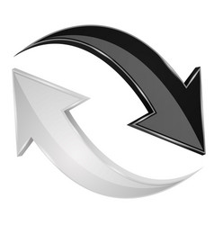 Black and white 3d arrows refresh sign vector