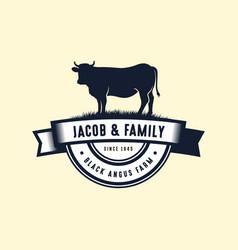 Black angus logo design template cow farm logo vector