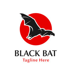 black bat logo design with circle vector image