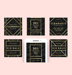 black friday sale web banners for social media vector image