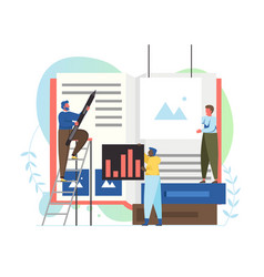 Book production concept flat style design vector