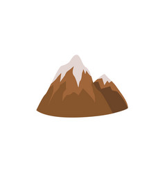 brown cartoon mountain range with ice snow cap vector image
