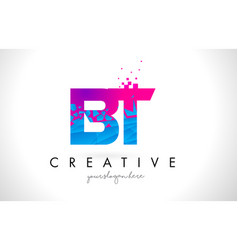 Bt b t letter logo with shattered broken blue vector