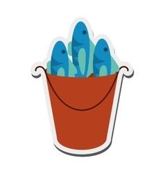 Bucket of fish icon vector