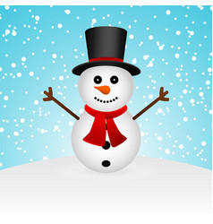 Cartoon funny snowman in forest vector