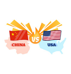 china vs usa conflict flag and map vector image