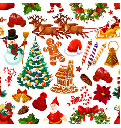 Christmas seamless pattern of decorations vector
