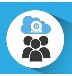 Cloud connection social media group camera web vector
