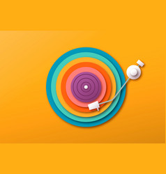colorful papercut vinyl music record player vector image