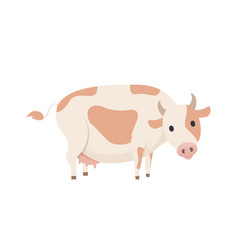 Cow isolated emblem in cartoon style icon vector