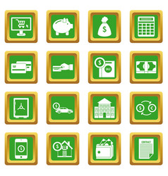 credit icons set green vector image