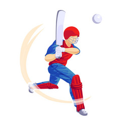 Cricket player game icon cartoon style vector