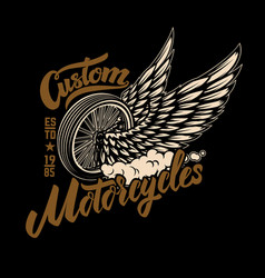 custom motorcycles racer winged wheel design vector image