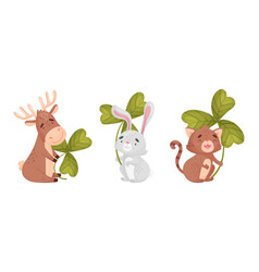 Cute baby animals with three leaf clover set vector