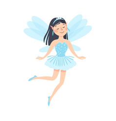 cute brunette girl fairy with wings lovely winged vector image
