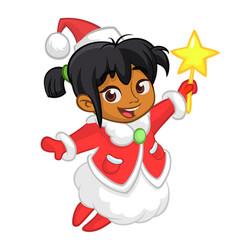 cute cartoon christmas afro-american girl angel vector image