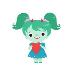Cute horned troll girl lovely smiling fantasy vector