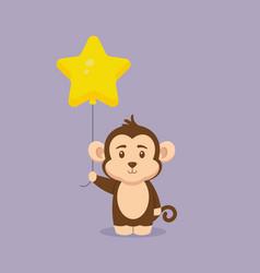 Cute monkey holding balloon free vector