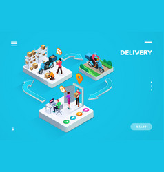 delivery or logistic isometric banner or sign vector image