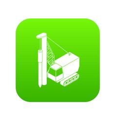 drilling machine icon green vector image