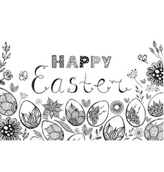 Easter card with easter eggs vector