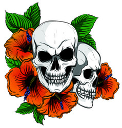 embroidery skull and red roses dia de muertos vector image