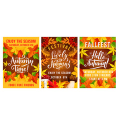 Fall autumn fest invitation posters vector