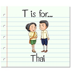 Flashcard letter T is for Thai vector