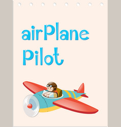 flashcard with pilot and airplane vector image