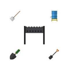 Flat icon farm set of container hay fork trowel vector