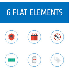Flat icons label purchase present and other vector