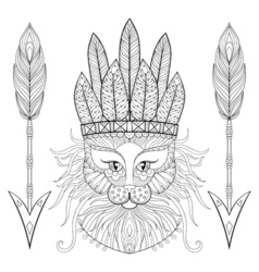 Fluffy Cat with wa rbonnet arrows in zentangle vector image