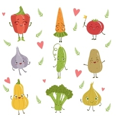 Funny Girly Design Vegetables Set vector