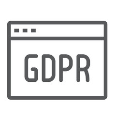 Gdpr site line icon webpage and website browser vector