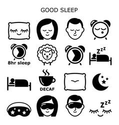 good sleep hygiene healthy sleep icons vector image
