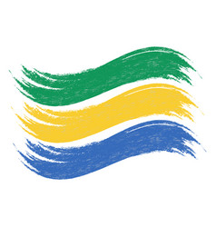 Grunge brush stroke with national flag of gabon vector