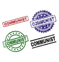 Grunge textured communist stamp seals vector