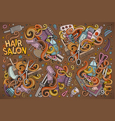 Hand drawn doodle cartoon set of hair salon vector