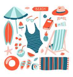 hand drawn summer beach object collection doodle vector image