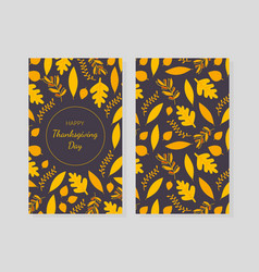 happy thanksgiving day card template with yellow vector image