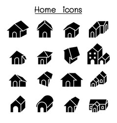 Home house residential apartment icon set vector