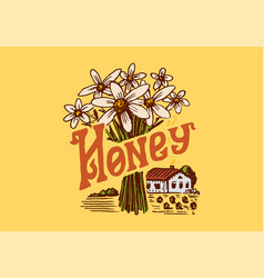 honey and bees vintage logo for typography shop vector image