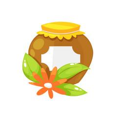 Honey in glass jar vector