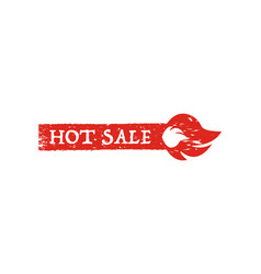 hot sale banner with fire on a white background vector image