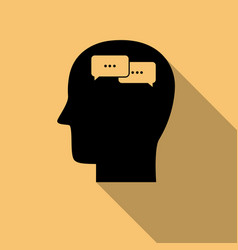 Human mind icon communication consept with long vector