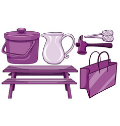 Isolated set household items in purple vector