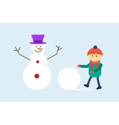 Kid making snowman vector image
